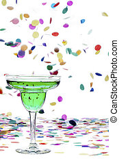 green apple martini and confetti - Close-up shot of green...