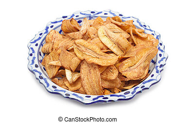 Fried thinly sliced banana chips,thai banana snack