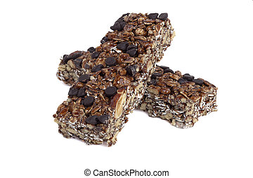 granola bars - Two granola bars isolated in a white...