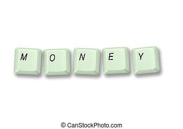 Green keyboard keys spelling MONEY - Multiple keyboard keys...