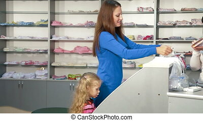 Kids Underwear Department - Mother and little daughter...