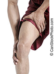 guy suffering knee pain close up - Close up image of guy...