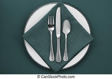 green dinner setting - Image of green dinner setting on...