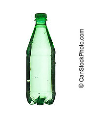 green bottle with water - Close up image of green bottle...