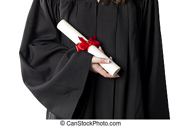 hand holding a graduation diploma - Cropped image of...