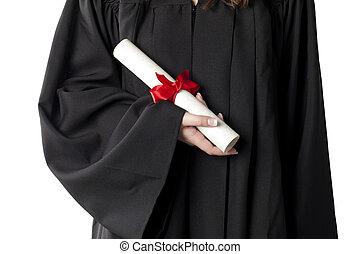 mão, segurando, graduação, diploma