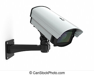 CCTV security camera on white background 3d