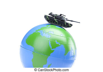 globe with military tank