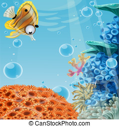 Deep blue sea with coral reefs and sea anemones. Banner for...
