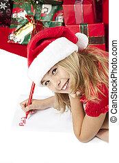 girl writing letter to santa