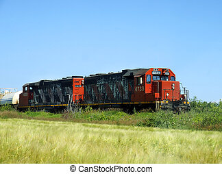 Freight locomotives - Two old freight or cargo locomotives...