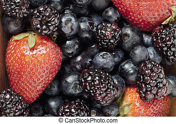 group of fresh berries - Cropped image of a group of berries...