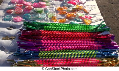 assorted colorful sweets on table in fair