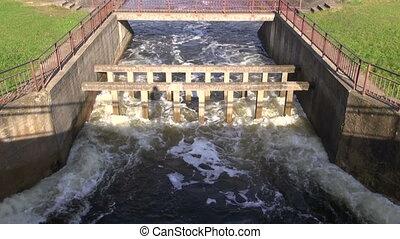 water splash in river dam