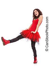 ballerina posing with leg raised - proud modern ballerina...