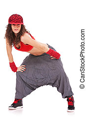 dancer with hip hop cap and large pants