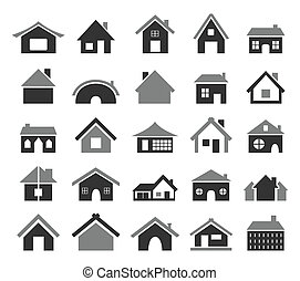 Home icon - Set of icons of houses. A vector illustration