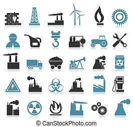 Industrial icons - Set of icons on a theme the industry A...