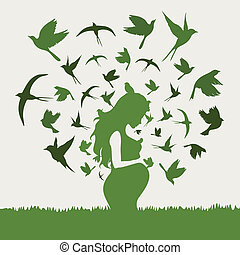 Pregnant woman - From the pregnant woman birds take off. A...