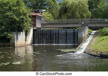 small sluice in the center of Nordhorn, Germany
