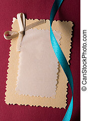 Greeting card with decorative ribbon