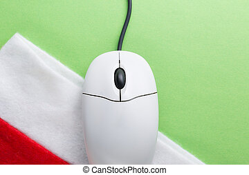 Santa sock and computer mouse