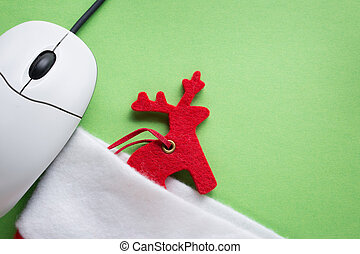 Santa sock, reindeer and computer mouse