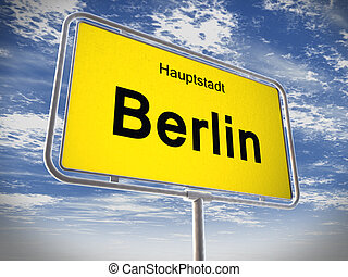 City limit sign of Berlin over blue sky