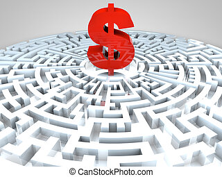 Dollar sign in the middle of a maze