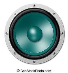 Loudspeaker in Turquoise - illustration of a speaker in...
