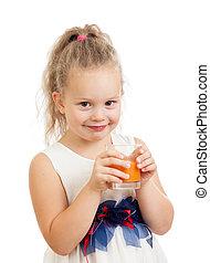 child girl drinking juice isolated on white background