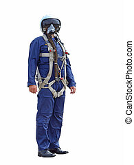 man dressed as a pilot on a white background