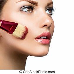 cosmético, Base, perfeitos, maquiagem, aplicando,...