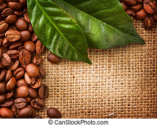 Coffee Border design. Coffee Beans and Leaves