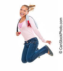 Back To School Happy and Smiling High School Student Jumping...