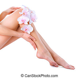 Healthy Legs Spa Long woman legs isolated on white