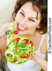 Diet Healthy Young Woman Eating Vegetable Salad
