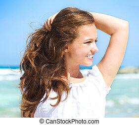 Beautiful Girl in Tropical Resort. Ocean Beach