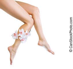 frau,  Spa, gesunde, Freigestellt, langer, Beine, weißes, Beine