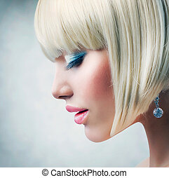 Haircut Beautiful Girl with Healthy Short Blond Hair