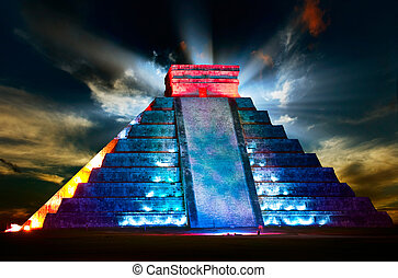 itza,  chichen, piramide,  Mayan, noturna, vista