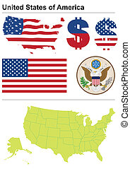 United States collection including flag, plate, map...