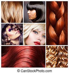 cabelo, colagem, Penteados