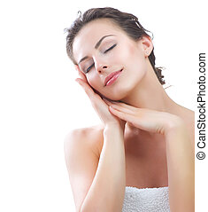 Beautiful Young Woman touching her Face Skincare