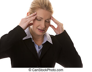 business woman headache - blond business woman having a...