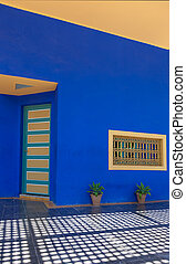 facade - bright color facade house in Morocco Marrakesh
