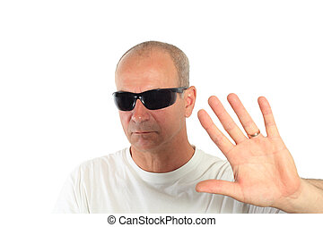 fazer, homem, óculos de sol, sinal