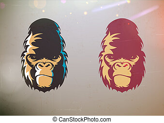 Gorilla smirk face - illustration of fun cartoon stylized...
