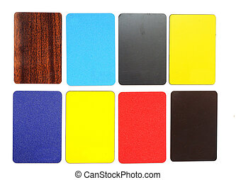 collection of colorful plastic cards on white background
