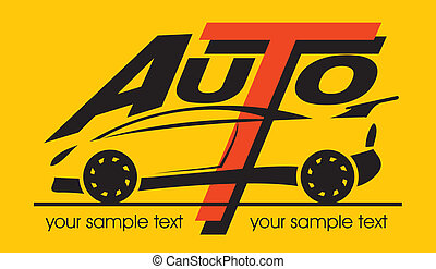 "auto - silhouette of sport car with the words ""auto"", vector"
